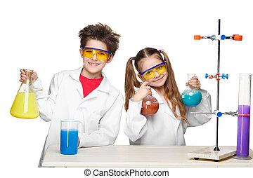 lindo, dos, experimentos, Elaboración, lección, química,...