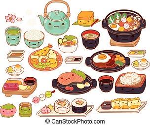 lindo, dulce, japonés, kawaii, girly, garabato, aislado, sukiyaki, blanco, encantador, adorable, alimento, colección, maki, filete, hamburgo, bebé, sashimi, caricatura, tempura, infantil, icono, manga