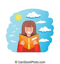 lindo, educativo, concepto, lectura de mujer, libro