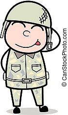 lindo, ejército, tímido, -, ilustración, soldado, vector, caricatura, hombre