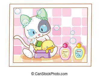 lindo, el bañarse, gato, caricatura, polluelos