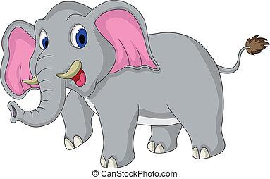 lindo, elefante, caricatura