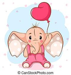 lindo, elefante, con, rosa, balloon.