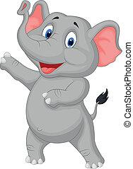 lindo, elefante, presentación, caricatura