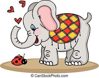 lindo, elefante, y, mariquita