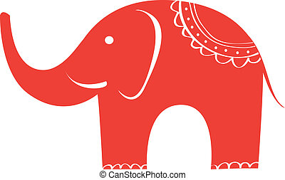 lindo, elephant., indio, character., animal