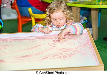 lindo, empates, revelado, arena, niño, niña, dibujo,...