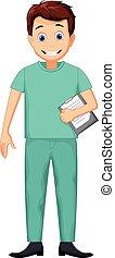 lindo, enfermera, caricatura, hombre
