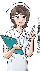 lindo, enfermera, señalar con el dedo arriba