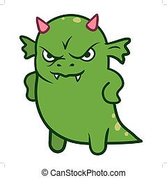 lindo, enojado, monstruo, dragón