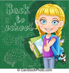 lindo, escuela, pizarra, -, espalda, libros, niña
