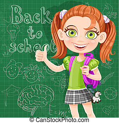 lindo, escuela, pizarra, -, espalda, niña