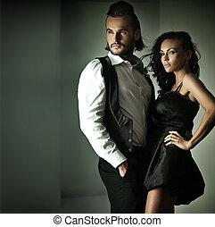 lindo, estilo, moda, pareja, foto