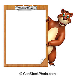 lindo, examen, carácter, oso, almohadilla, caricatura
