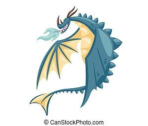 lindo, feliz, azul, vuelo, dragón, ilustración