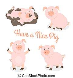 lindo, feliz, caricatura, cerdos, vector, conjunto