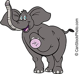 lindo, feliz, caricatura, elefante