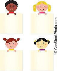 lindo, feliz, multicultural, niños, con, blanco, bandera
