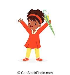 lindo, feliz, negro, niña, posición, y, teniendo paraguas, caricatura, vector, ilustración