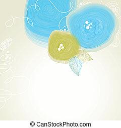 lindo, festivo, resumen, plano de fondo, vector, floral, flores