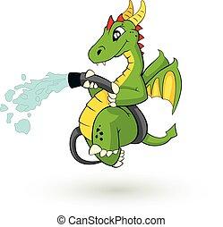 lindo, fire-fighter, dragón