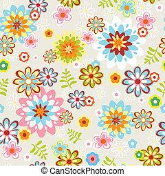 lindo, flor, arte, patrón, seamless, línea
