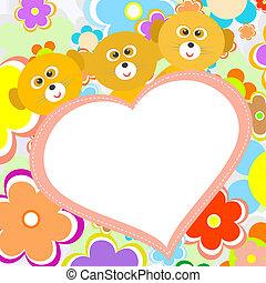 lindo, flor, corazón, grande, lémur, rojo