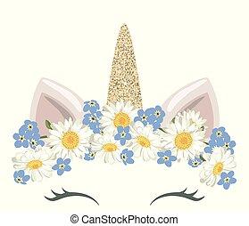 lindo, floral, oro, ducha, guirnalda, carácter, catroon, ...
