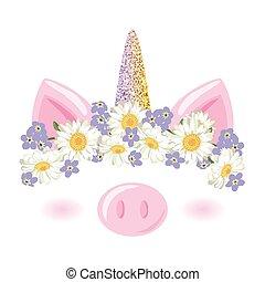 lindo, floral, oro, ducha, guirnalda, carácter, pig., ...