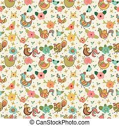 lindo, floral, seamless, patrón, con, aves