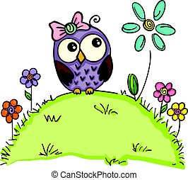 lindo, flores, jardín, búho
