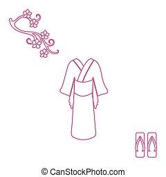 lindo, flores, shoes., cereza, japonés, ilustración,...