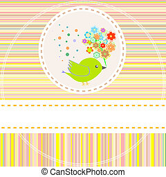 lindo, flores, vector, aves, tarjeta