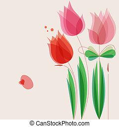 lindo, flores, vector, plano de fondo