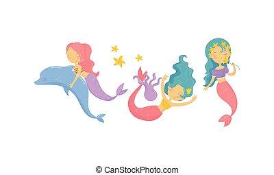 lindo, flotar, submarino, sirena, delfín, vector, conjunto, oler, flor