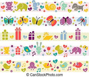 lindo, fronteras, con, bebé, icons.