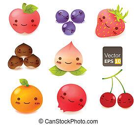 lindo, fruta, colección