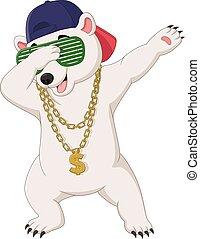 lindo, gafas de sol, oso, collar, dabbing, baile, sombrero, ...