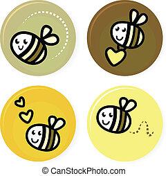 lindo, garabato, aislado, colección, abeja, vector, blanco