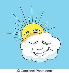 lindo, garabato, de, nube, y, sun., vector, ilustración