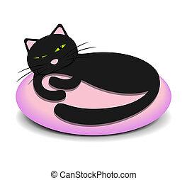 lindo, gatito, almohada, sueño