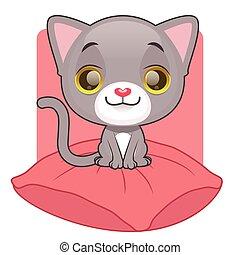 lindo, gatito gris, sentado