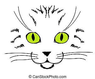 lindo, gato, cara, mano, dibujo, para, su, diseño