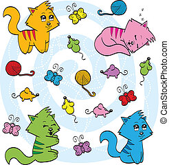 lindo, gatos, caricatura