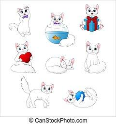 lindo, gatos, conjunto, caricatura