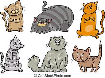 lindo, gatos, conjunto, caricatura, ilustración