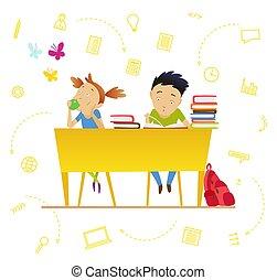 lindo, geografía, school., drawing., biología, niñas, ...