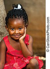 lindo, girl., africano, tiro, cara