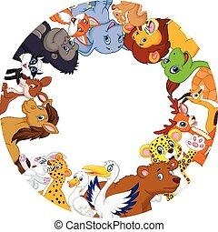 lindo, globo, animales, caricatura, alrededor