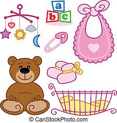 lindo, gráfico, elements., nacido, juguetes, bebé, nuevo, ...